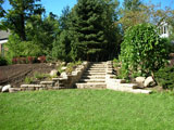 Completed stone stairs