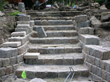 New stone stairs during construction