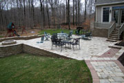 Finished patio, stairs, and fire ring